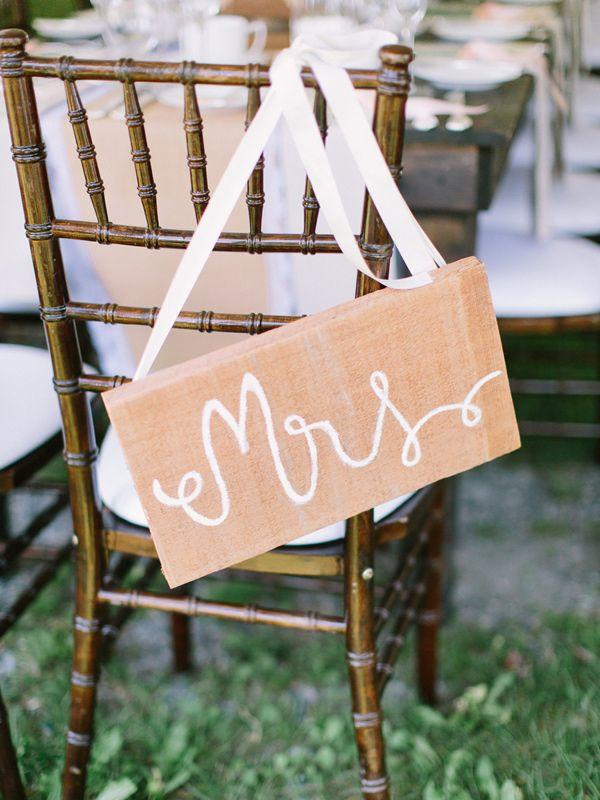 Mrs. chair sign, photo by When He Found Her http://ruffledblog.com/brooklands-farm-wedding #weddingideas #signs #reception