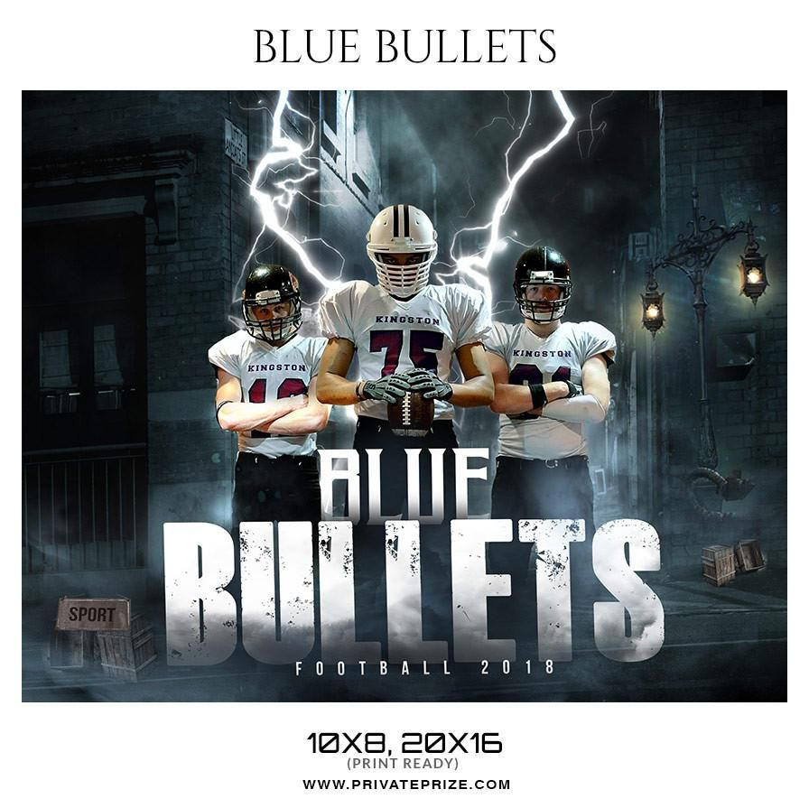 Blue Bullets Football Themed Sports Photography Template Themed
