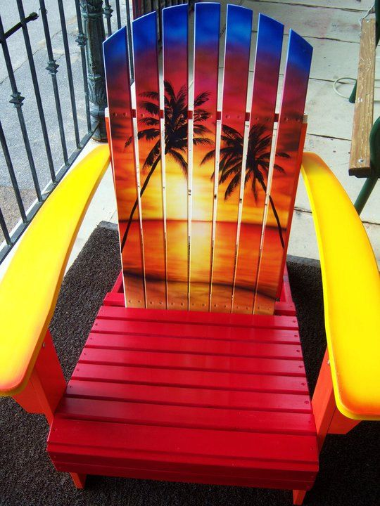 Paint For Adirondack Chairs Office Chair Mesh Seat Sunset Hand Painted Furniture
