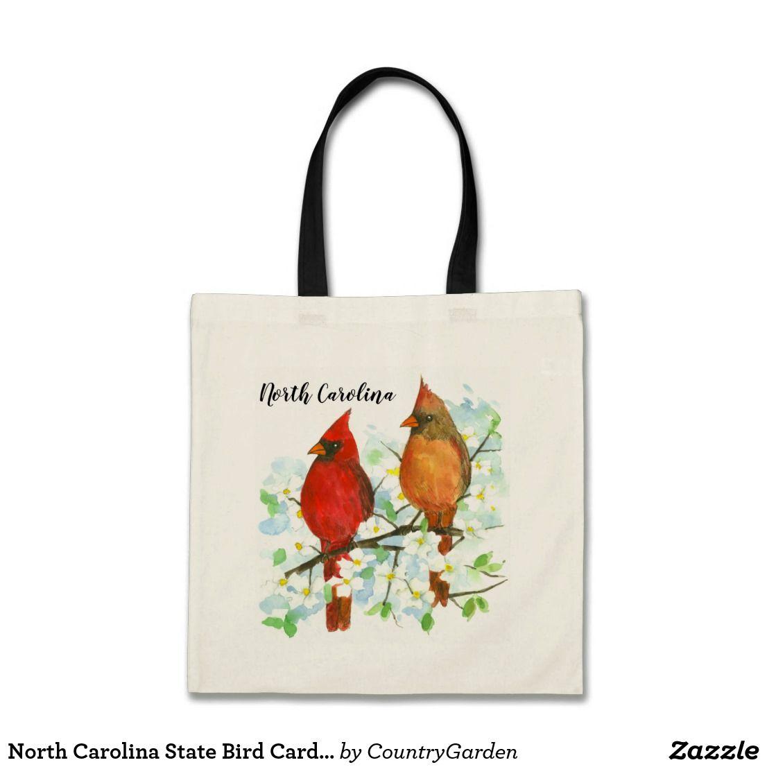 North carolina state bird cardinals dogwood tote bag