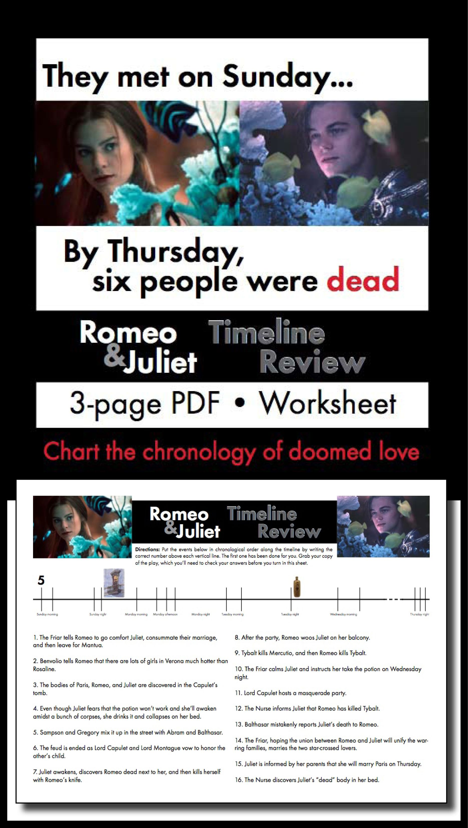 Uncategorized Romeo And Juliet Timeline Worksheet romeo and juliet timeline review worksheet use with shakespeares play
