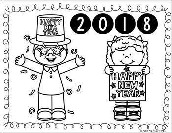 New Years 2020 Coloring Pages and Writing Sheets, FREE