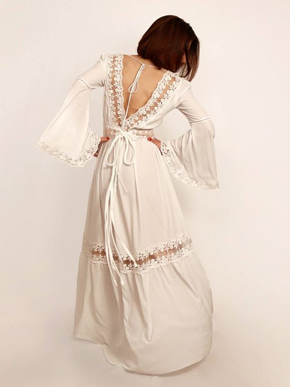Rustic wedding dress high low dress boho wedding dress