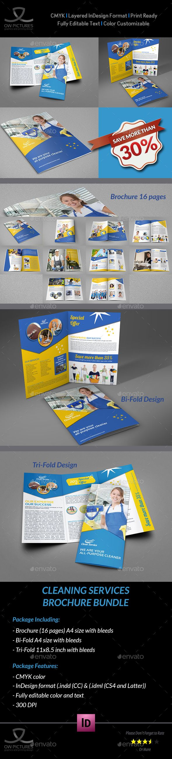 Cleaning Services Brochure Bundle Template  Brochures Tri Fold