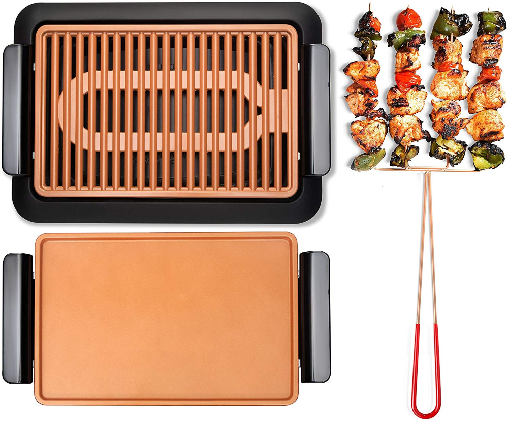 Amazon Com Gotham Steel Smokeless Electric Grill Griddle And Pitchfork Indoor Bbq And Nonstick As Seen On Tv Large Indoor Bbq Gotham Steel Electric Grill