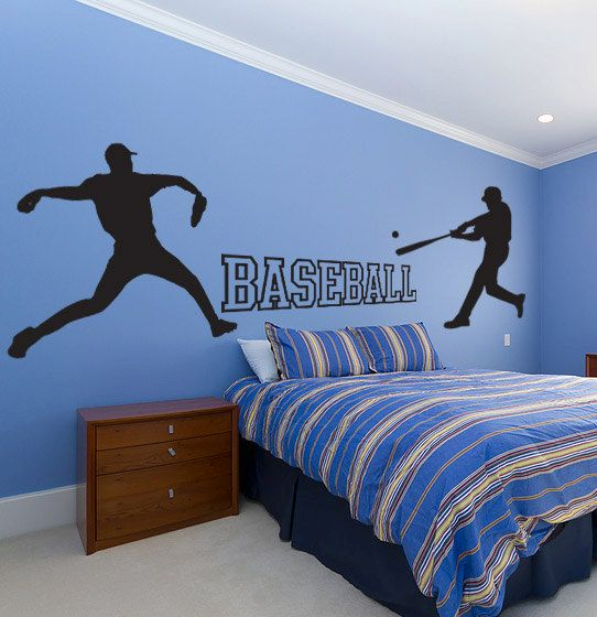 baseball wall decal set - sticker - kids room, sports, school | boys