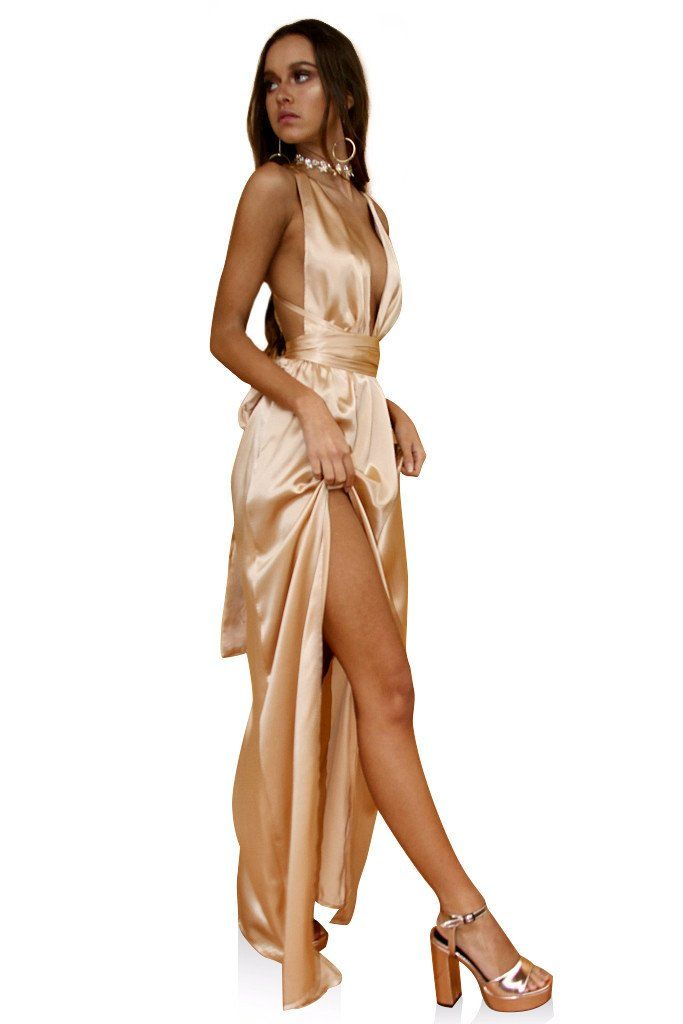 0404f3c7f81 Rent Designer dresses for Formals NZ. SATIN SILK CHAMPAGNE - MULTIWAY GOWN