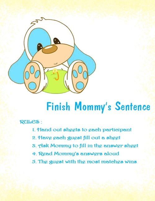 Beautiful New Games For Baby Showers Part - 4: New Baby Shower Game Finish Phrase Printable Baby Baby Shower Games Finish  Mommy Sentences