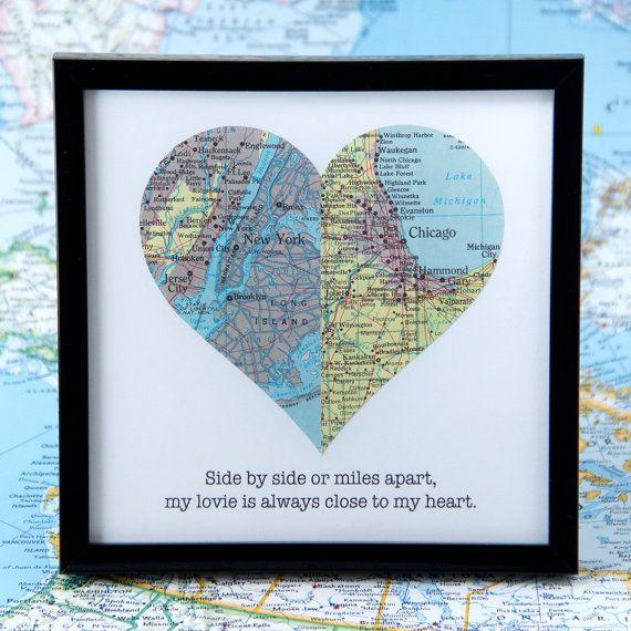 Romantic Gift For Long Distance Relationship Framed Map Heart For