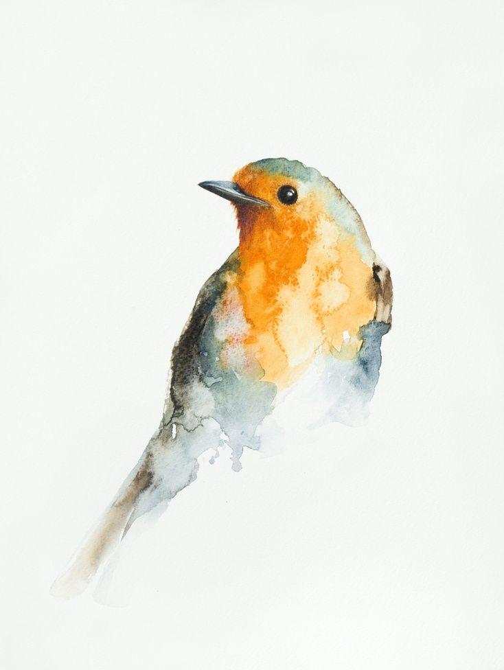ARTFINDER: Robin (Erithacus rubecula) by Andrzej Rabiega - Passe partout added 30x40 cm