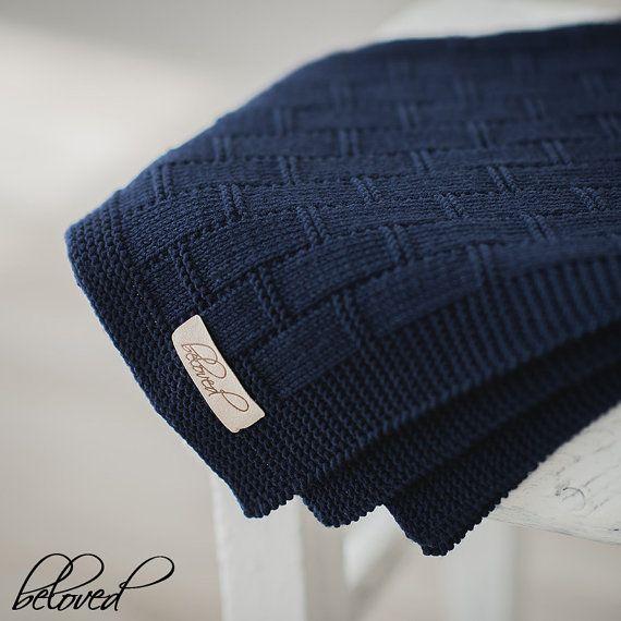 Navy Blue Baby Boy Blanket, Knitted Baby Blanket, Knit Baby Afghan, Hand Knit Baby Blanket, Unisex Baby Blanket, Photo Prop Blanket