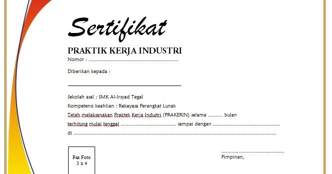 contoh sertifikat praktek kerja industri  prakerin  smk