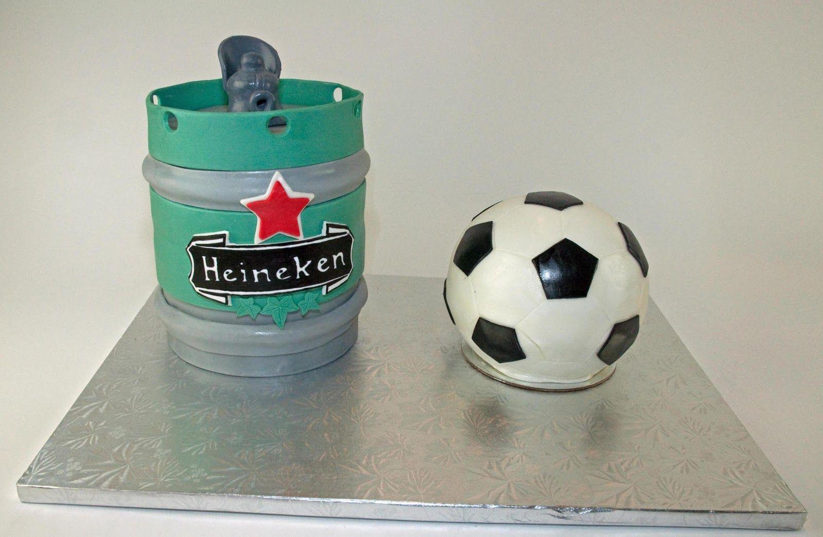 Beer keg and soccer ball cake!