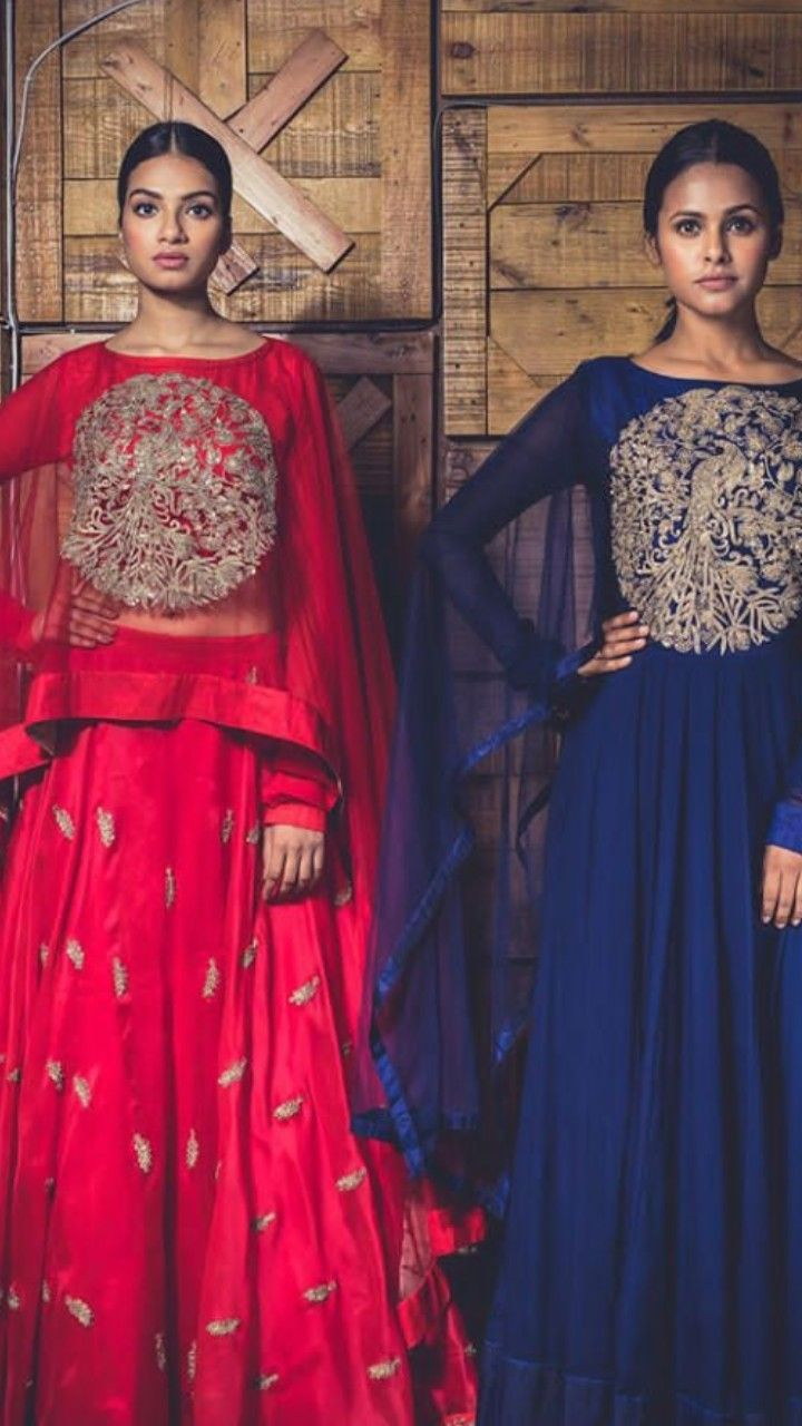 Beautiful hand embroidered silk long dresses indowestern gown