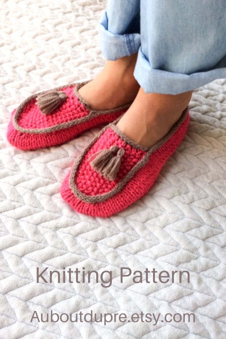 Knitting Pattern moccasin slippers in 2020   Knitting ...