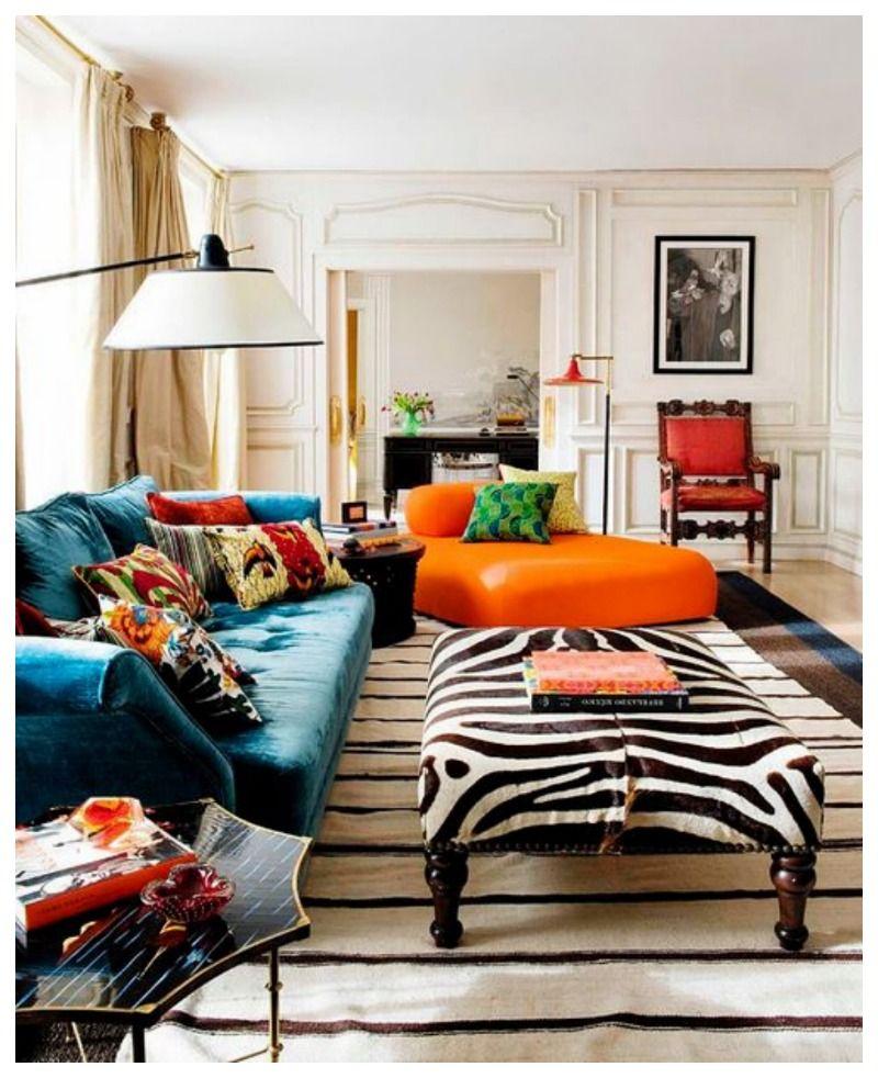 Obsessing Over Zebra Ottomans | Living room decor orange ...
