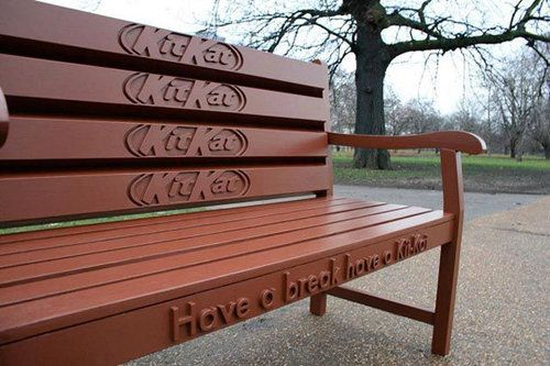 "This ad expresses the idea that everyone deserves a break, and while taking that break you should have kit kat. This ad shows some humour as you wouldn't expect to see a bench made of kitkat. As well it targets almost everyone looking to have ""a break"". This ad is useful because its ambiance raises interest in the consumer and persuades them into buying."