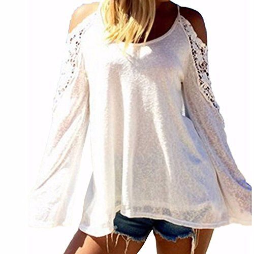 6c5e35b89c ZANZEA Women's Beach Off Shoulder Long Sleeve Lace Crochet Blouse ...
