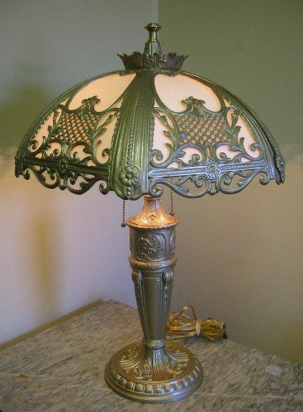 Antique Slag Glass Table Lamp 25 X 18 Lamps Chandeliers