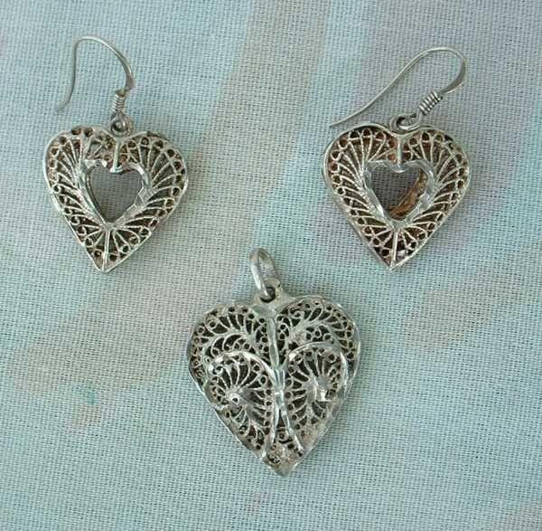 Sterling Silver Filigree Heart Set Pendant Earrings Vintage Sweetheart Jewelry