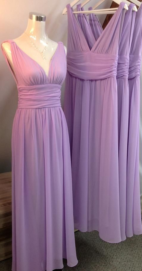 A-Line Deep V-Neck Backless Lilac Chiffon Pleated Bridesmaid ...