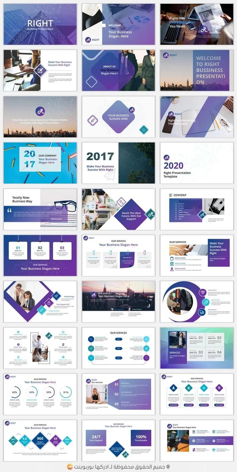 تحميل قالب بوربوينت احترافي جاهز للتعديل Ppt ادركها بوربوينت Powerpoint Templates Brochure Design Powerpoint