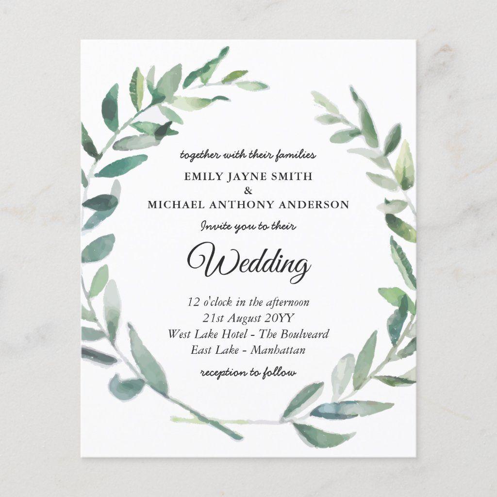 Budget Wedding Invitation Modern Olive Leaves Budget Wedding Invitations Photo Wedding Invitations Modern Wedding Invitations