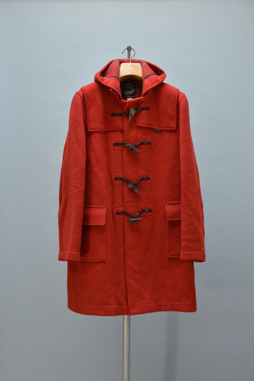 Red Wool Gloverall Coat - Vintage 80s Ladies Duffle Coat with Hood ...