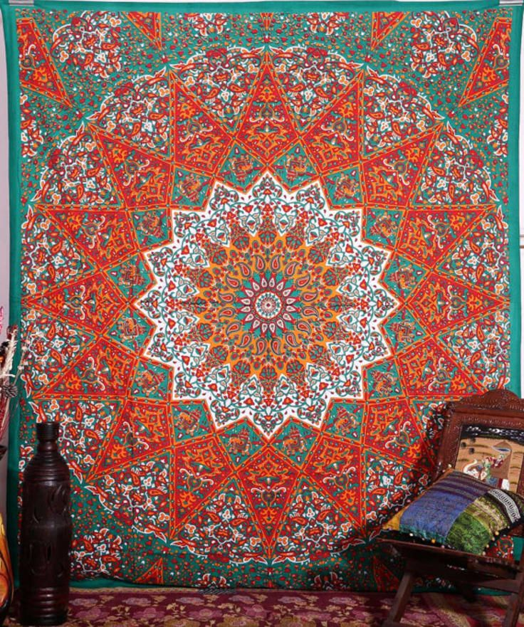 Large Indian Psychedelic Star Mandala Tapestry Wall