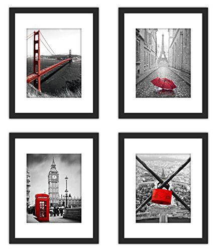 4x Real Glass Wood Frame Black Fit 11x14 Without Mat 3 Kind Matted Fit Family Image Pictures 8x10 Matted 2 Holes 5x7 Easy Home Decor Kinder Mat Wall Hanging