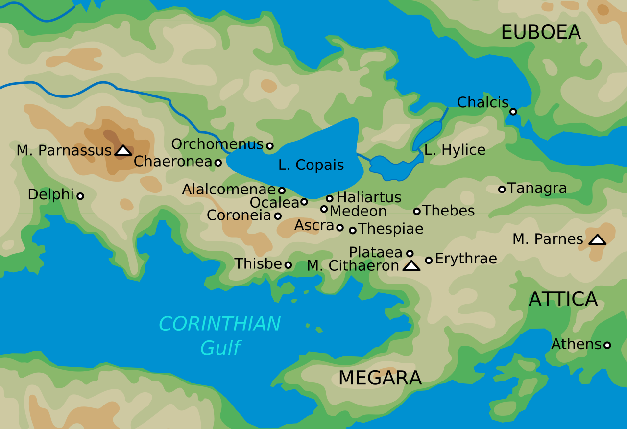 Map of ancient Boeotia