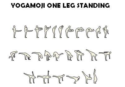 yogamoji leg standing set as outlines  graphic design