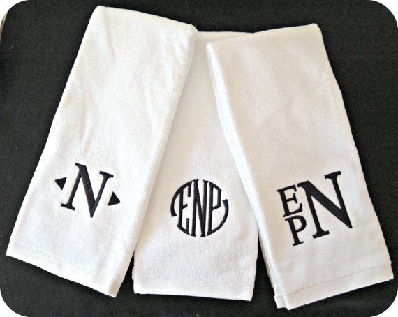 Monogram hand towels available in white, black, brown, red, and gray. Other  font colors are offered as well