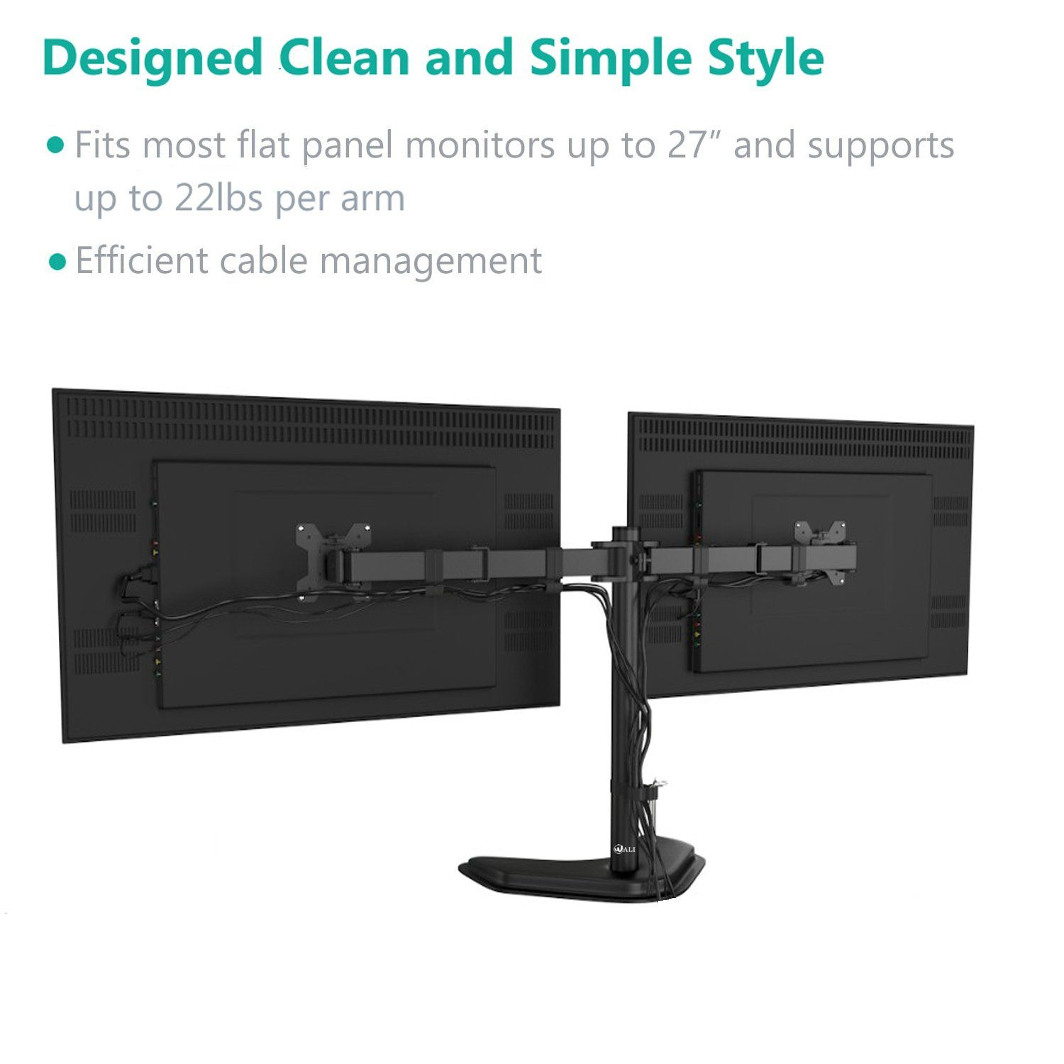 WALI Dual LCD Monitor Mount Free Standing Fully Adjustable Desk Fits Two Up To