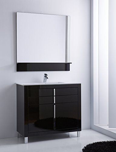 Roma 40 Inch Wide Bathroom Vanity Cabinet Set Black High Gloss Single Sink White Ceramic