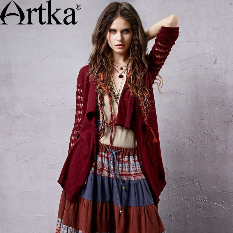Artka Women's Autumn New Vintage Solid Color Sweater Cardigan Long Sleeve Hollow Out All-Match Casual Cardigan WB14153C