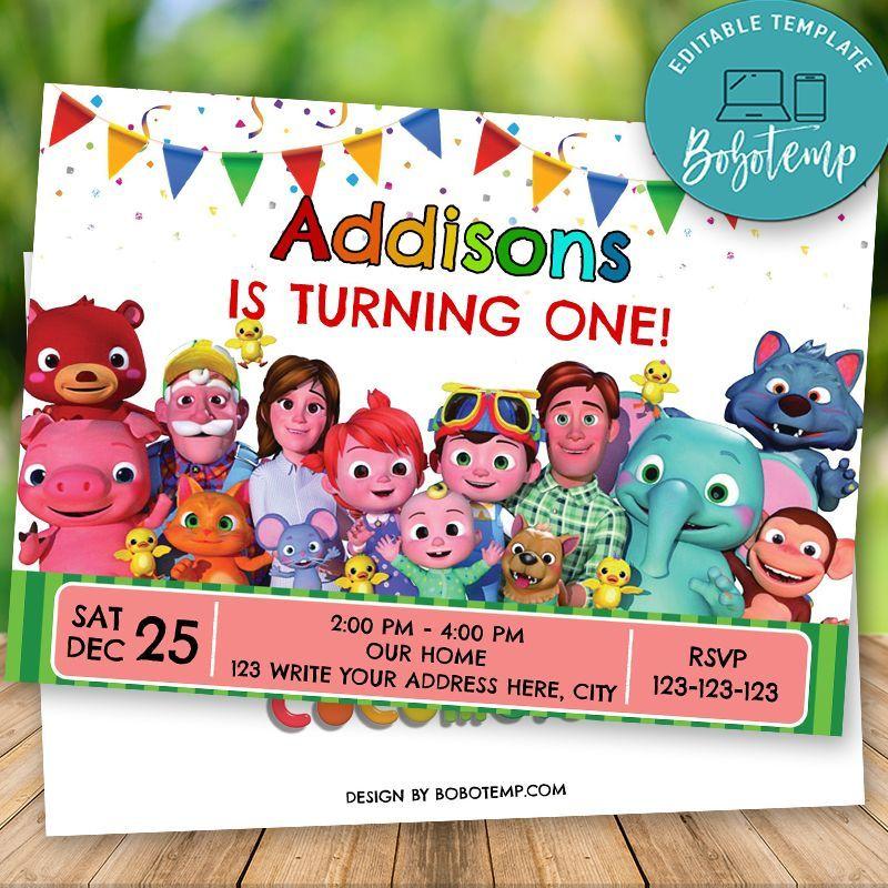 editable cocomelon birthday invitation