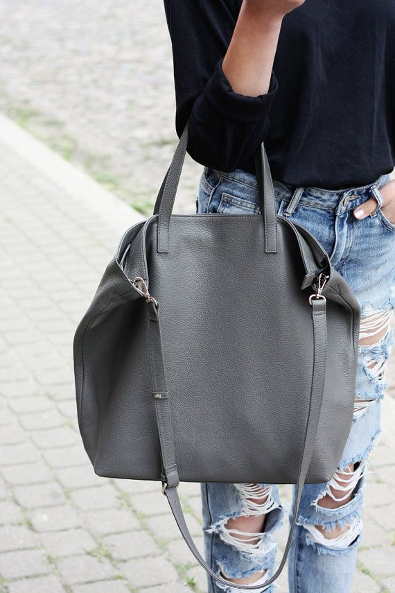 DOMI Top Zip Grey Leather Tote Bag by MISHKAbags on Etsy   purses ... 4039dcd109