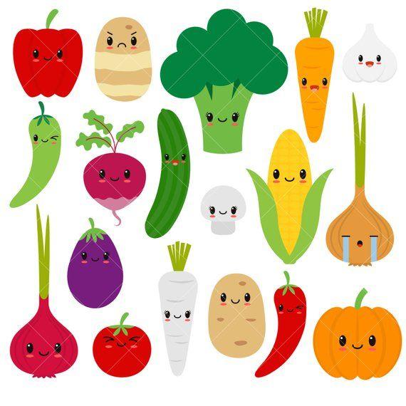 Kawaii Vegetables Cute Vegetable Clipart Happy Veggies Etsy Cute Food Drawings Kawaii Fruit Vegetable Illustration