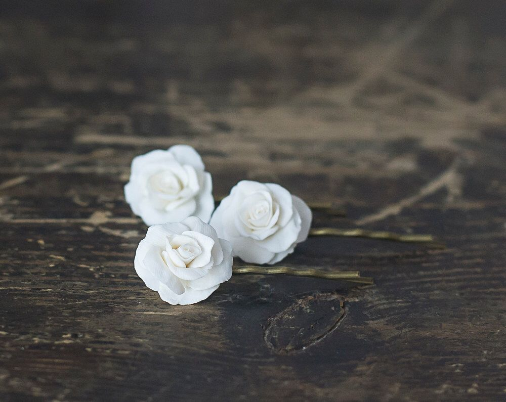 White Garden Rose Hair white rose flower hair pins - white rose hair clips - bridal hair