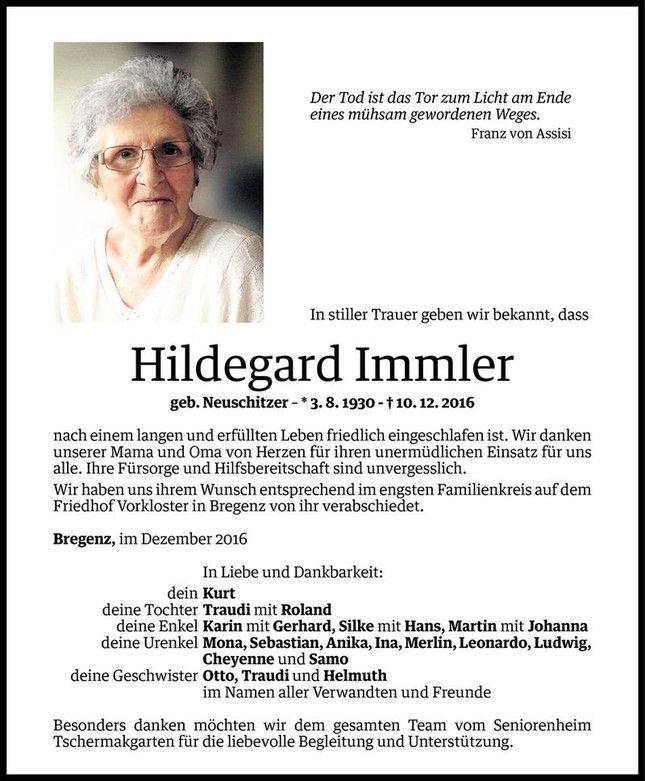 Todesanzeige Fur Hildegard Immler Vom 21 12 2016 Vn Todesanzeigen