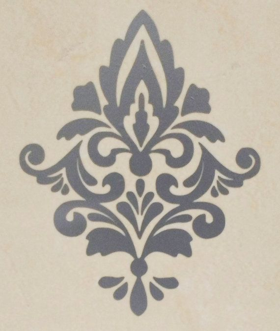 Damask Wall Decals X 5. SILVER Damask Wall Decal. By RedFacedYogi