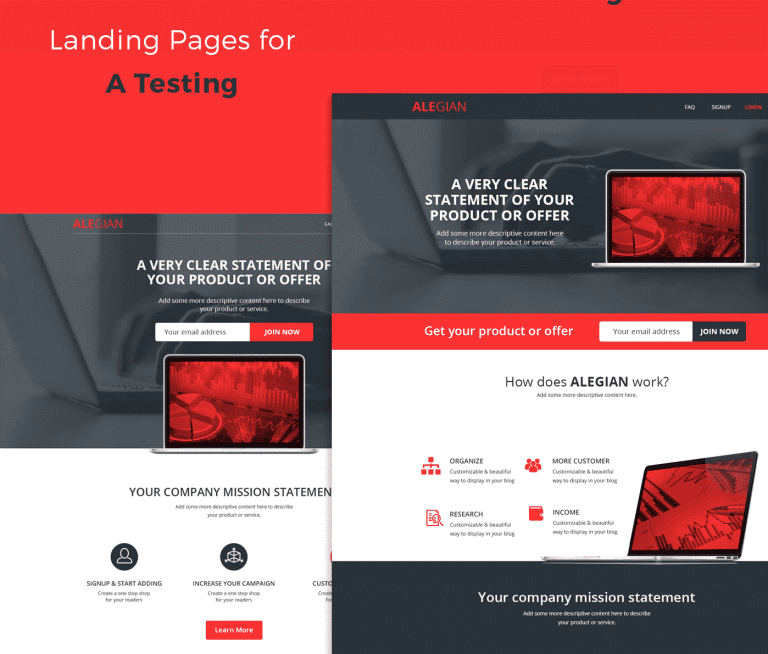 Alegan Multipurpose Landing Page Landing Page Creative Website Design Best Landing Pages