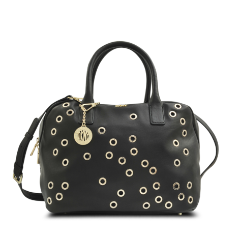 Iconic eyelet-buckle shoulder bag - Schwarz Versus