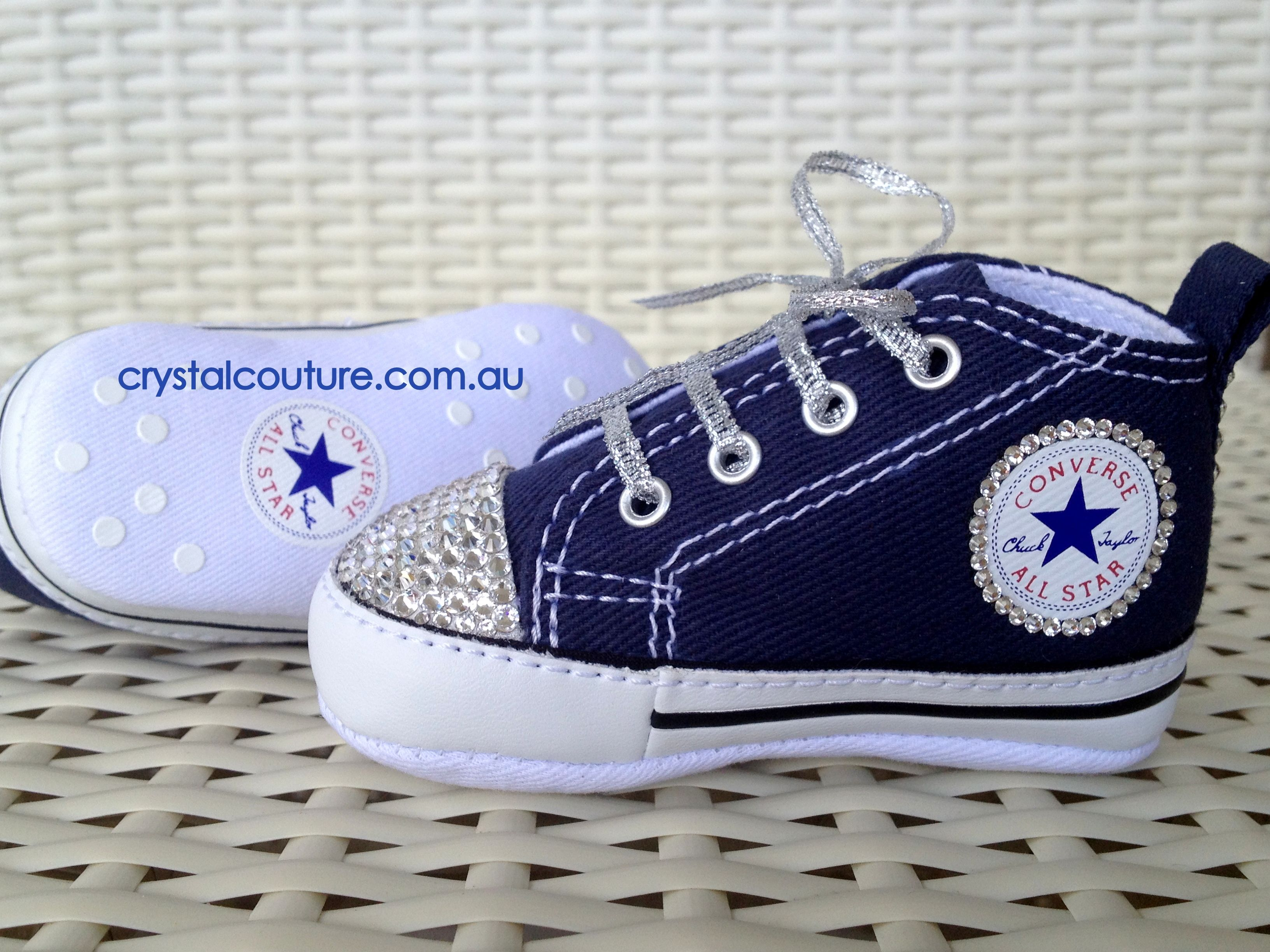 e671926d7a1f Baby s first Converse made extra fabulous with Swarovski Crystals!  Baby   Bling  Swarovski  Converse