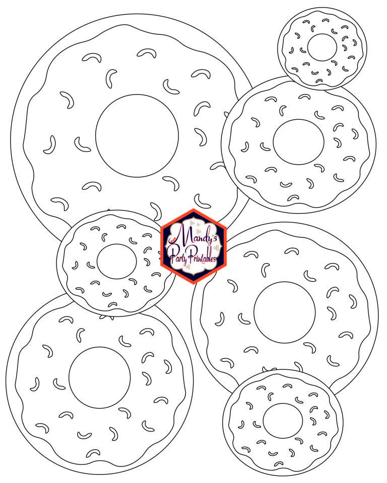 Donut Coloring Pages And Party Sign Donut Coloring Page
