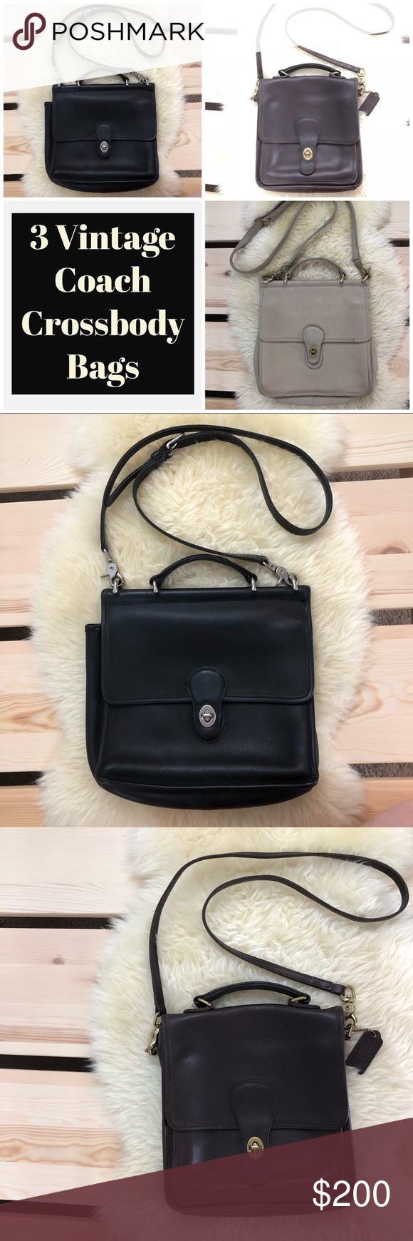 Spotted while shopping on Poshmark  3 Vintage Coach Leather Bags Black  Brown Cream!  poshmark  fashion  shopping  style  Coach  Handbags 9d3c10d94d