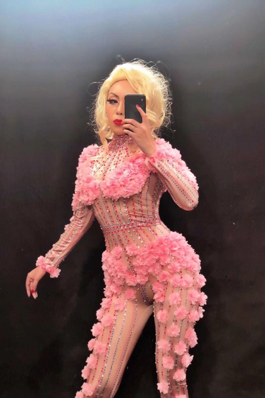 d4bca2334006c Sexy Dj Pink Flower Crystals Bodysuit Costume One-piece Evening ...
