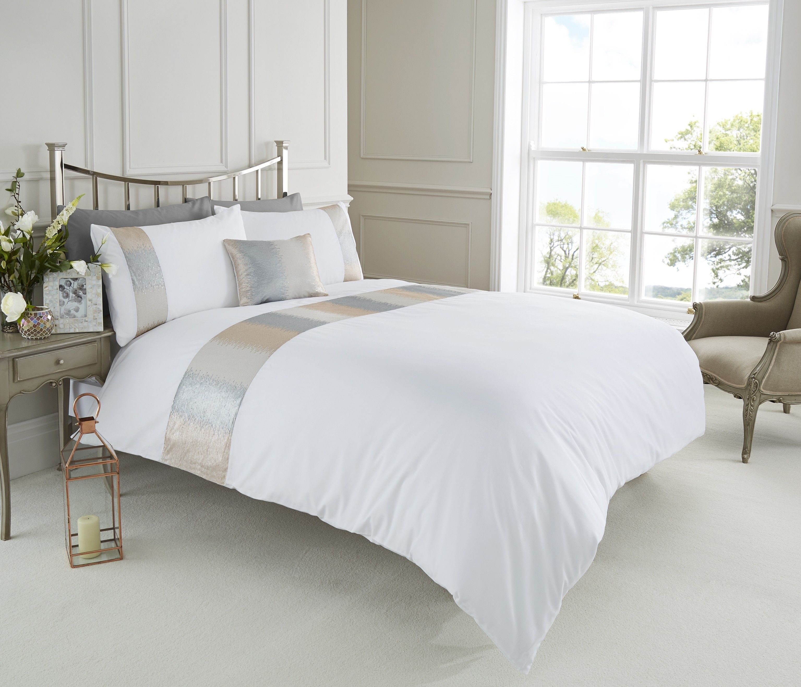Life From Coloroll Victoria Sequin Panel Duvet Set White Ponden Homes