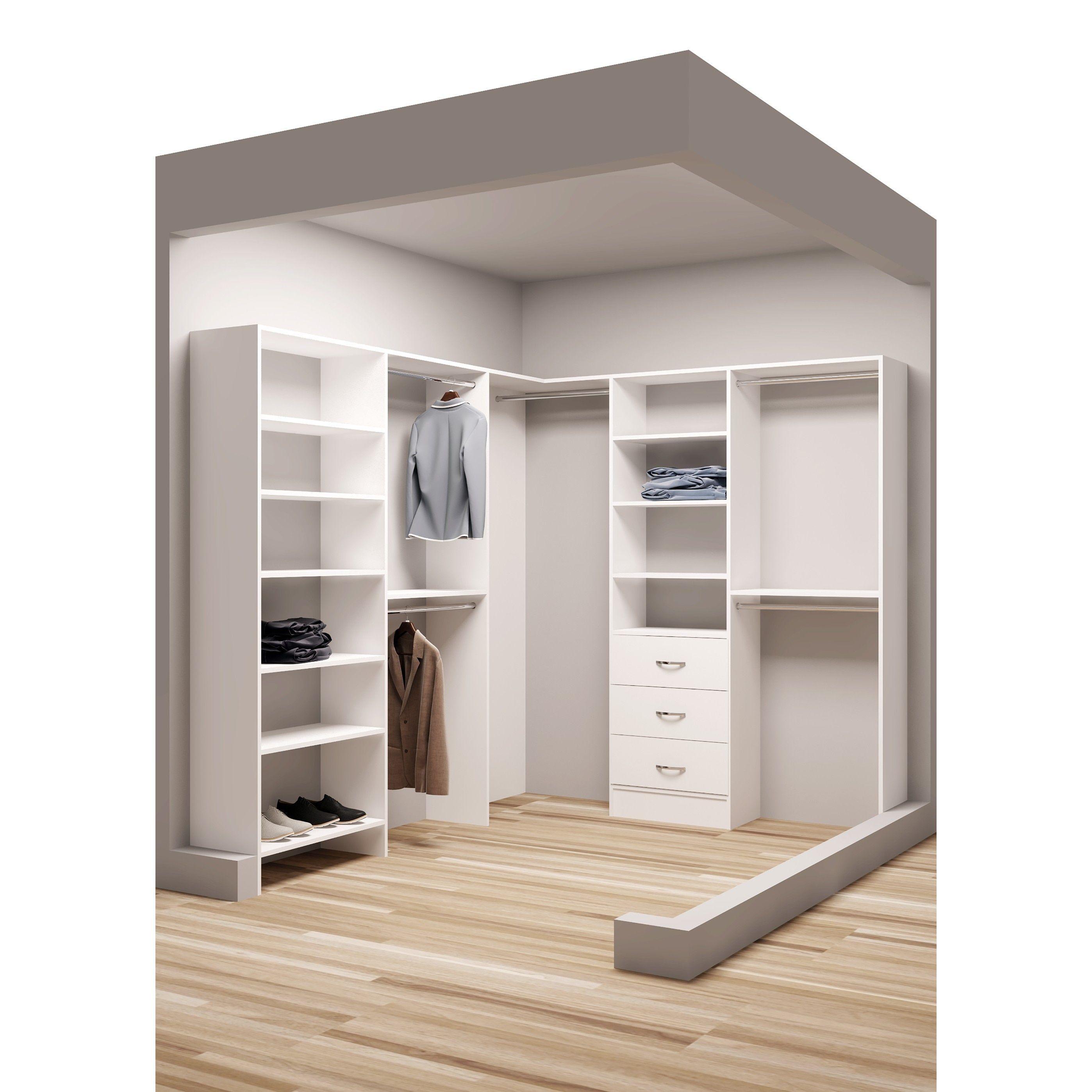 Tidysquares White Wood 81 X 96 25 Walk In Closet System White